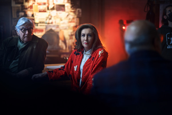 In the new Campari Red Diaries 2021 Fellini Forward project, Artificial Intelligence created outputs used by the short film crew, sound boarded by members of Fellini's original crew and heir; (from left to right) his niece Francesca Fabbri Fellini and his former camera operator, Blasco Giurato.