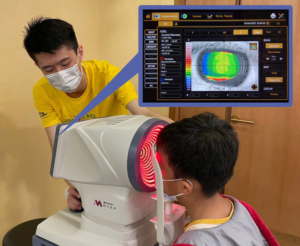 A child going through the MYAH screening at VISTA Eye Specialist Kids in the Curve, PJ.