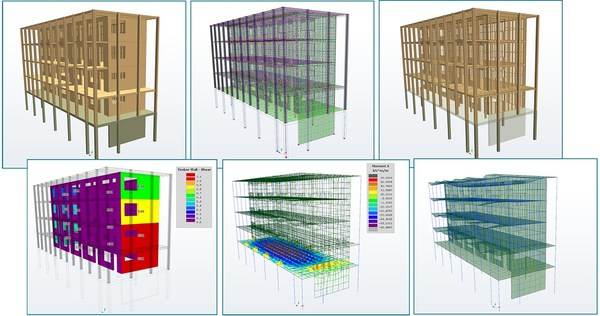 Various views of a multi-story hybrid mass timber building in S-FRAME's S-TIMBER software, including (clockwise): object view, FEA view, framing view, design utilization results, floor strip-line results, deformed structure.