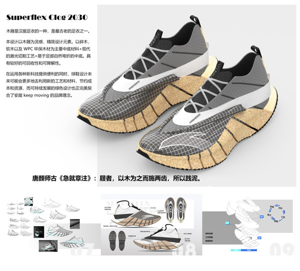 """ANTA Cup China Footwear and Apparel Design Competition Winner, Cui Tiehan's """"Superflex Clog 2030"""""""