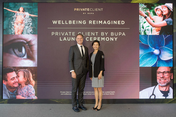 Andrew Merrilees, General Manager of Bupa Hong Kong and Stella Sung, Sales and Distribution Director of Bupa Hong Kong, celebrate the launch of Private Client service