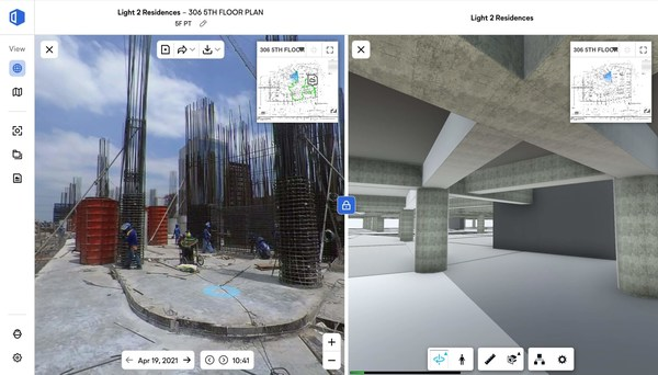 The OpenSpace platform in action comparing a site photo to the project's BIM.