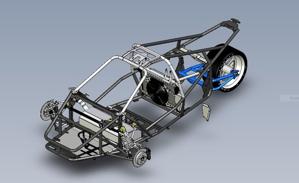 Frame chassis of a SilverLight reverse-trike Source: SilverLight Electric Vehicle Inc.