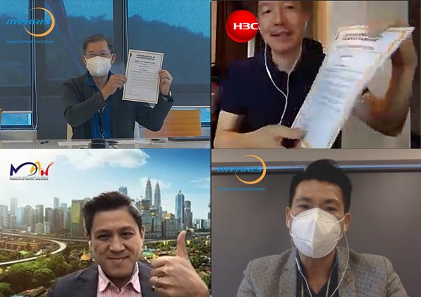 Chew Choo Soon, Group Managing Director of MyKRIS (top left); Rockies Ma, Country General Manager of H3C Malaysia (top right); Yap Lip Seng, Chief Executive Officer of MAH (bottom left); Mason Lee, Sales Director of MyKRIS (bottom right)