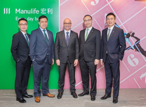 Manulife Hong Kong today announced its second quarter and first half 2021 financial results. Present at the media briefing were (from left to right): Raymond Ng, Head of Employee Benefits; Rockson Leung, Chief Financial Officer; Damien Green, Chief Executive Officer; Wilton Kee, Chief Product Officer and Head of Health; and Ivan Chan, Chief Agency Officer.