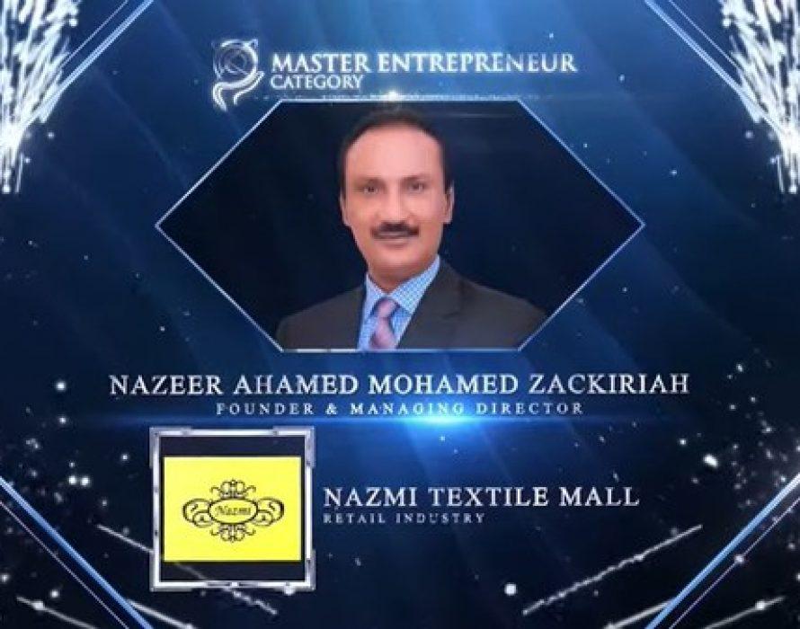Nazeer Ahmed Mohamed Zakariah of Nazmi Textile Mall Wins Master Entrepreneur Award at the Asia Pacific Enterprise Awards 2021 Regional Edition