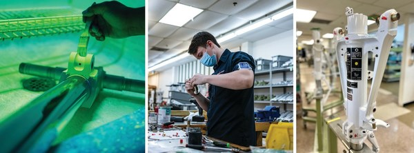 Trace Aviation employee works on King Air landing gear parts.