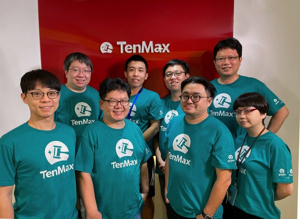 Tenmax exec team in Taipei HQ: Front row from left to right - Jeremy Lin, Dr.Nathan Chiu (CEO), Brian Yang (Managing Director), Eureka Tseng (PM). Back row from left to right - Tom Su, Jay Chau, Tsung-Yin Tsai and Dr.Richard Hsiao (VP of Engineering).