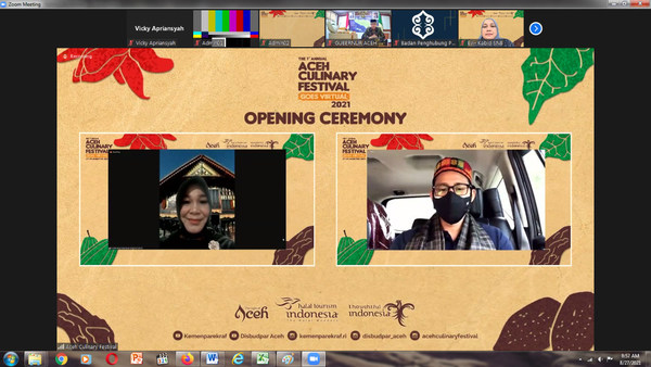 Indonesia's Minister of Tourism and Creative Economy, Sandiaga Uno (right), shared his opening remarks virtually.
