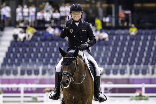 The defending double Olympic champion, Germany's Michael Jung has taken the lead in the individual rankings as the dressage phase of Eventing came to a close at the Tokyo 2020 Olympic Games in Baji Koen (JPN). (FEI/Libby Law)
