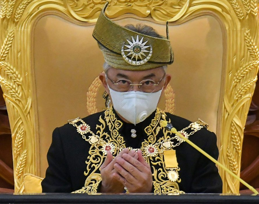 Agong arrives for Parliament opening ceremony