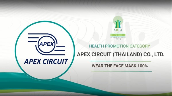 Apex Circuit (Thailand) Co., Ltd. awarded in the Health Promotion Category at Asia Responsible Enterprise Awards 2021