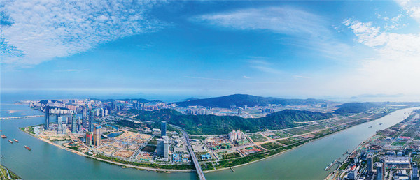 A panorama view of the construction underway in Hengqin, Zhuhai, May 1, 2020. The CPC Central Committee and the State Council view the place as an important vehicle for spurring appropriate diversification in Macao's economic development. PHOTO BY CNS REPORTER HUANG JIANHUA