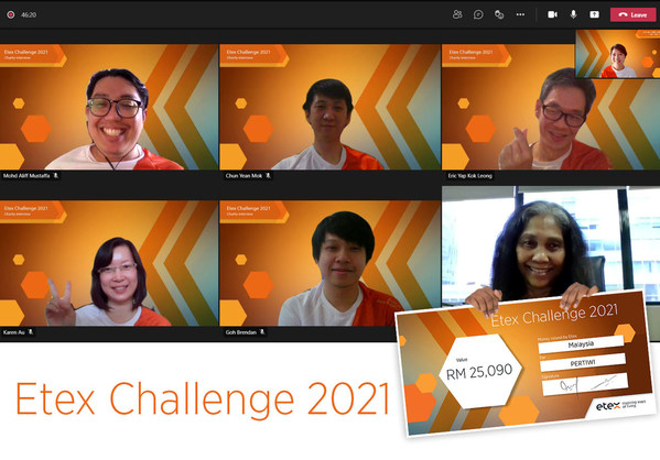 Virtual cheque giving ceremony with Pertiwi President, Datuk Munirah and Etex Malaysia Director, Eric Yap