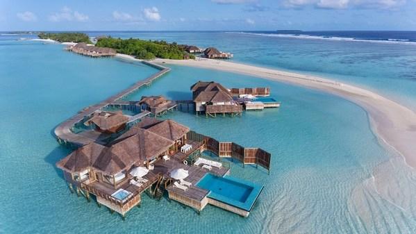 Conrad Maldives Rangali Island - Sunset Water Villa (Aerial View)