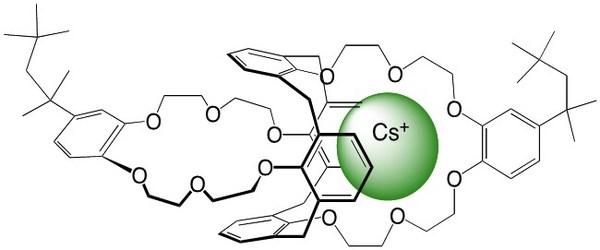 BOBCalixC6 Sequestering a Cesium Ion - Source: Izatt, R.M., et al. Chem. Soc. Rev., 2014, 43, 2451-2475
