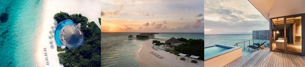Left to Right – Rivera Bar, Aerial View of the Island, Sunset Overwater Pool Villa
