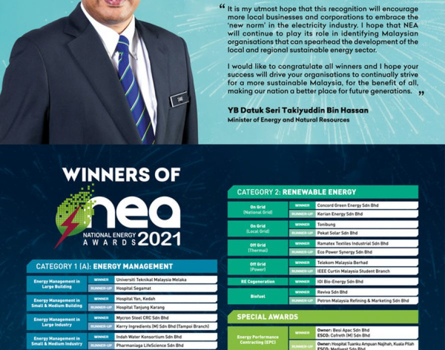 NEA 2021: 26 Outstanding Organisations Recognised to Represent Malaysia at the ASEAN Energy Awards 2021