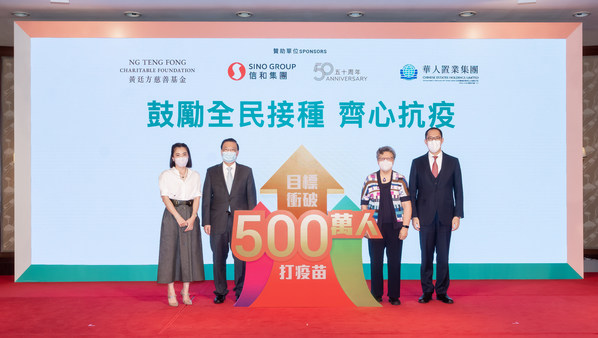 Mr Daryl Ng, Director of Ng Teng Fong Charitable Foundation Limited, the Hon Mrs Rita Fan Hsu Lai-tai, GBM, GBS, JP, the Hon Mr Tam Yiu-chung, GBM, GBS, JP and Ms Chan Hoi Wan, Chief Executive Officer of Chinese Estates Holdings Limited, attended the Lucky Draw event and witnessed the drawing of 21 winners of the Phase 1 Lucky Draw.