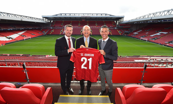 Anfield Stadium, Liverpool, 16 September 2021: [Pictured R-L] Liverpool FC Legend, Luis Garcia, is pictured alongside Fisk Johnson, Chairman and CEO SC Johnson, and Billy Hogan, CEO Liverpool Football Club at the launch of a new global sustainability partnership between the global maker of household consumer brands and Liverpool Football Club. Called Goals for Change, the partnership kicks off with a closed loop recycling model which aims to repurpose more than 500,000 plastic bottles used at Anfield each season.