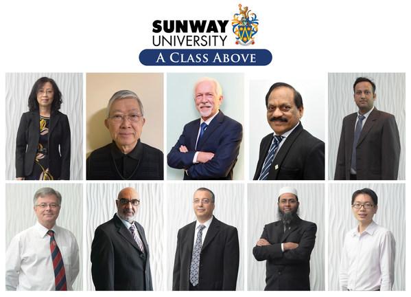 First row (L-R) Prof Chia, Prof Teo, Prof Poppema, Prof Agamutu, Prof Dr Adarsh; Second row (L-R) Prof Edward, Prof Pervaiz, Prof Kheireddine, Prof Saidur, Prof Yau