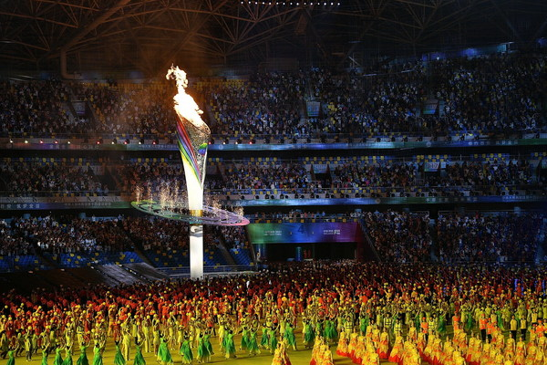 Cauldron is lit during the opening ceremony for China's 14th National Games in Xi'an.