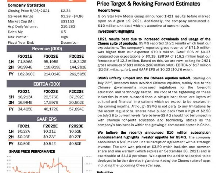 Univest Securities Publishes Updated Research Report on Glory Star and Raises Price Target to $7.50