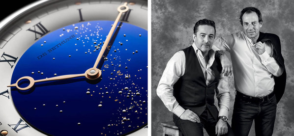 De Bethune displays its technical and aesthetic mastery with the DB25 Starry Varius. Pictured; Pierre Jacques (CEO) and Denis Flageollet (COO and Master Watchmaker)