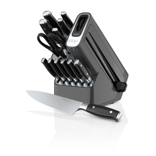 The Ninja™ Foodi™ NeverDull™ Premium 14-Piece Knife System maintains superior sharpness thanks to its built-in sharpener and NeverDull™ Technology. Available now on Best Buy and Kohl's, and available soon on NinjaKitchen.com.
